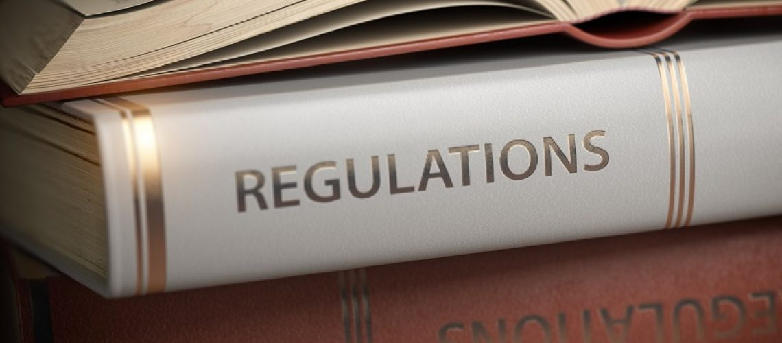 Regulations book. Law, rules and regulations concept. 3d illustration